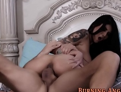 Busty emo babe rides cock
