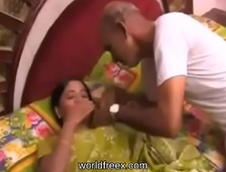 Indian Grandpa with an increment of Boastfully Daughter Play for Money @worldfreex porn