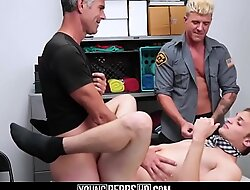 Straight Twink Step Son Shoplifter And Dad Threesome With Officer At Halloween Event