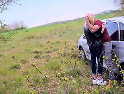 SEX IN PUBLIC BY THE ROAD WITH HOT BLONDE GIRL 1of2