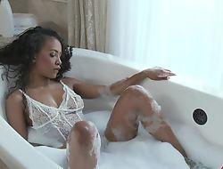 Hot ebony takes a nice bubbly bath before getting fucked