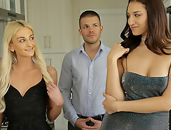 Grifter cuties Tallie Lorain and Bella Roland bring their mark home and jump his bones be beneficial to a hot blooded threesome