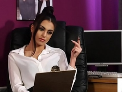 Stockinged brit voyeur instructs office sub